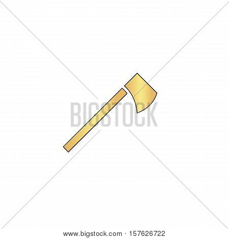 hatchet Gold vector icon with black contour line. Flat computer symbol