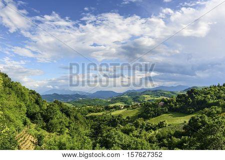 Beautiful landscape near Urbino in Marche Italy