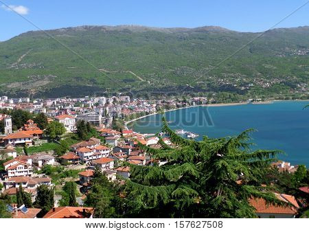 Beautiful cityscape on the shores of Lake Ohrid, Macedonia (FYROM)
