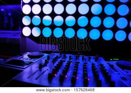 Nightclub parties DJ. sound and light equipment .
