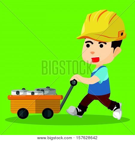 Pushing cart of paint eps10 vector illustration design