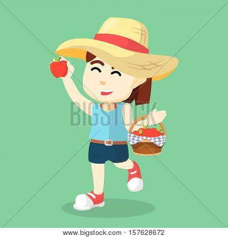 Girl picking an apple eps10 vector illustration design