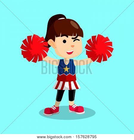 Cheerleader girl cartoon eps10 vector illustration design