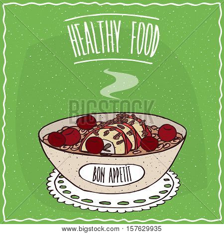 Bowl Of Oatmeal With Apple And Cherry
