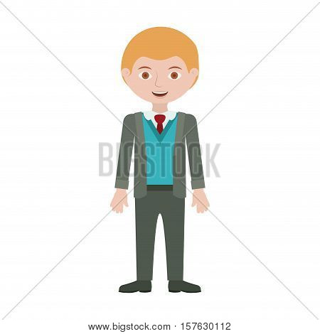 blond man with formal suit and bussines vector illustration