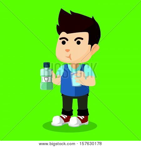 Boy gargle his mouth with mouthwash illustration design