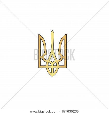 Trident Gold vector icon with black contour line. Flat computer symbol