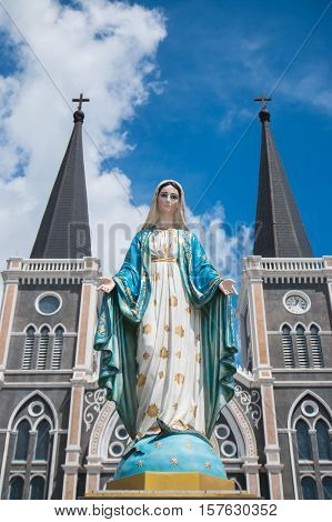 Virgin mary statue in front of Cathedral of the Immaculate Conception, Chanthaburi, Thailand