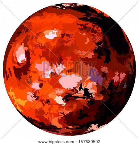 Mars Planet luminary in solar system missions went there to find life forms or aliens creatures possibility to live this similar size planet to earth red planet on isolated background orb ice surface