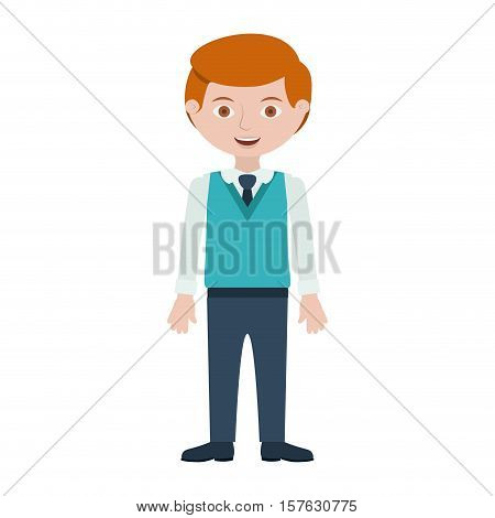 redhead man with formal suit and tie vector illustration