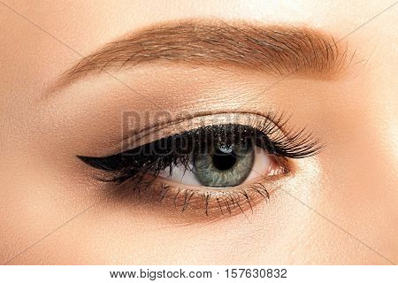 Close Up View Of Gray Woman Eye With Beautiful Makeup