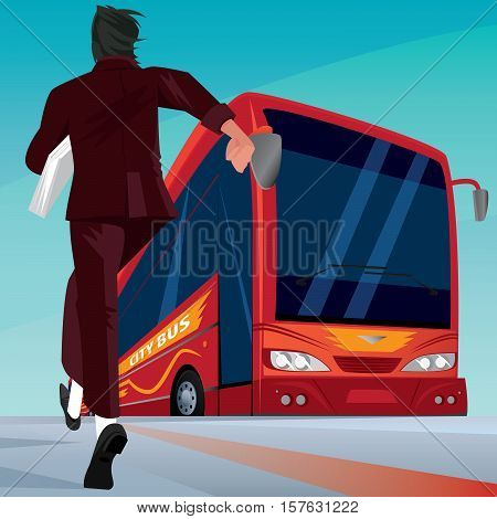 Businessman In A Hurry For The Passenger Bus