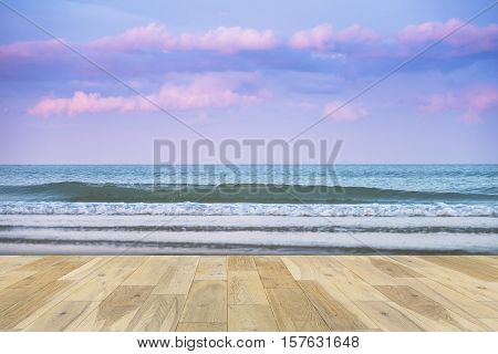 Wooden terrace on the Sea - stock photo
