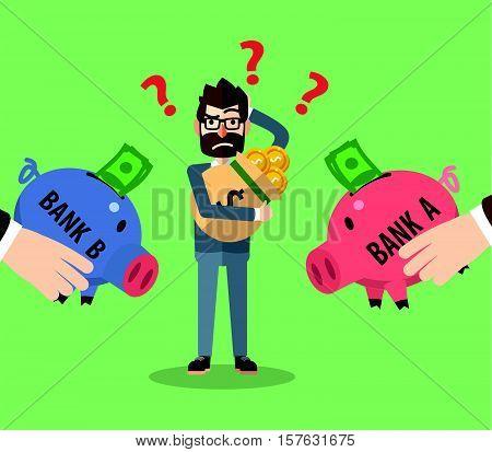 Bank investation confused eps10 vector illustration design