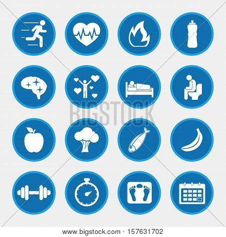 Healthy lifestyle concept, icons with blue button