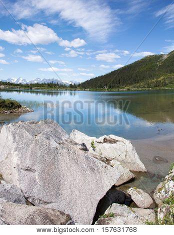 Vertical panoramic view of Upper Dewey Lake 3100 feet (945 meters) above sea level (Skagway).