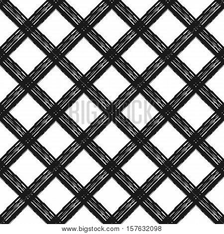 Seamless pattern with diagonal cage, vector hand painted background of diagonal black strokes and stripes, geometric design for textile, wallpaper, web design, wrapping, fabric, paper