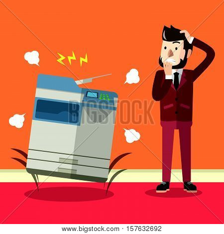 Business man photocopy machine eps10 vector illustration design