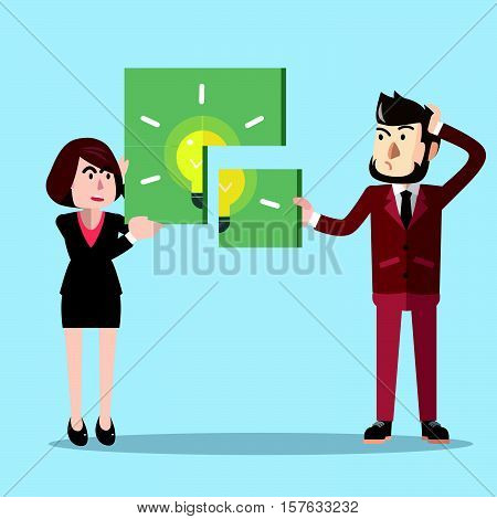 dea puzzle business solfing eps10 vector illustration design