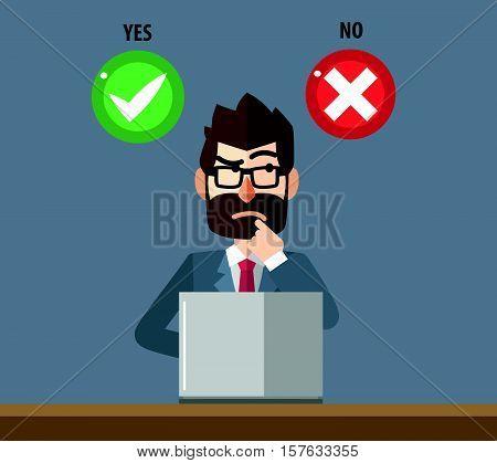 Business man confused choosing option illustration design