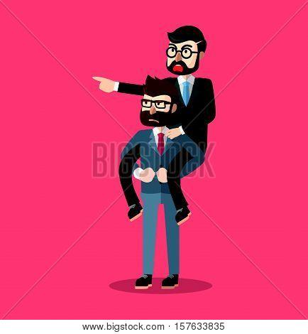 Business man piggy back eps10 vector illustration design