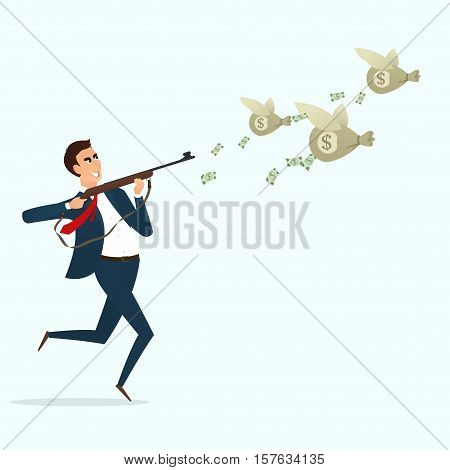 Businessman running with a gun for bags with money. Vector illustration. Business concept  isolated on white background.