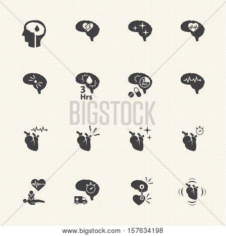 icon set of stroke disease vector icons set