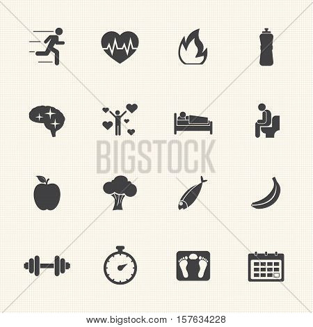 Healthcare and Healthy lifestyle concept vector icons set