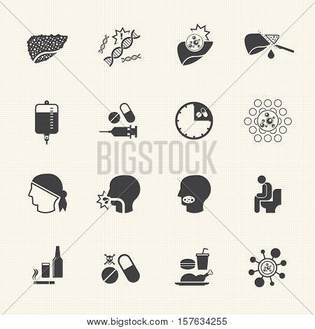 Liver cancer cause and treatment icons set