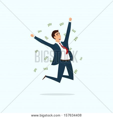Successful businessman jumping for joy. Vector illustration. Joyful man with money. Business concept isolated on white background.