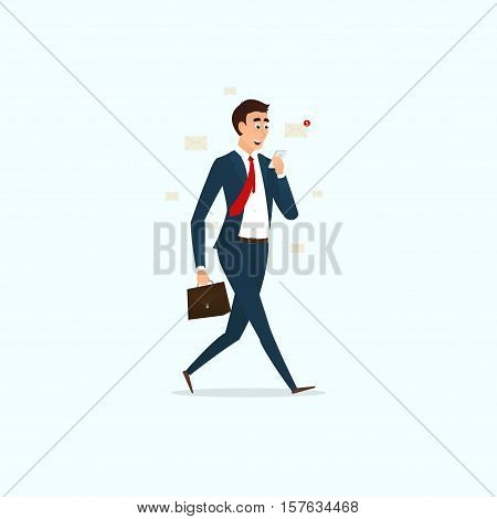 Successful businessman reading letters. Man with a briefcase goes and looking into the phone. Vector illustration.