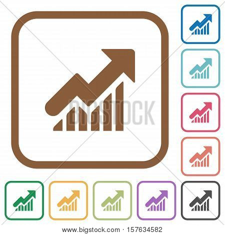 Rising graph simple icons in color rounded square frames on white background