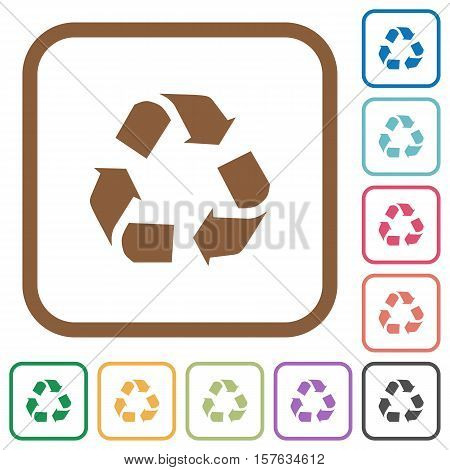 Recycling simple icons in color rounded square frames on white background