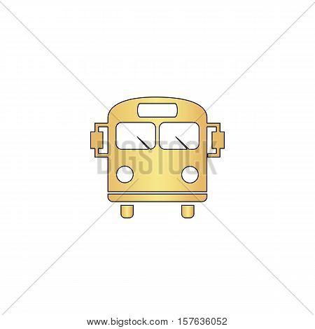 School Bus Gold vector icon with black contour line. Flat computer symbol