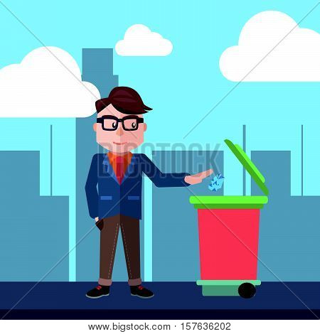 Man throwing trash go green illustration design