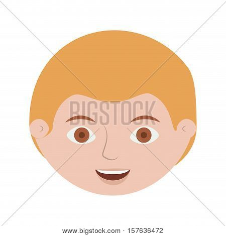 front face blond man smiling vector illustration
