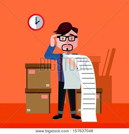 businessman confused bill flat color cartoon illustration design