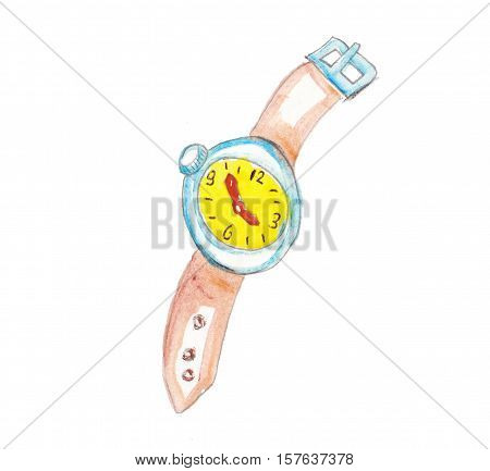 watercolor placeholder hand made colorfull clock yellow