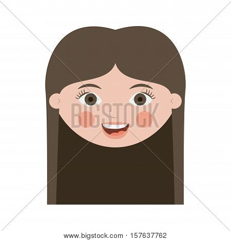 front face teen smiling with long hair vector illustration