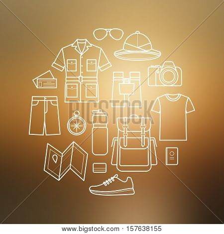 Vector icons set of safari planning a summer vacation tourism and journey objects and passenger luggage. Icons set on blurred background