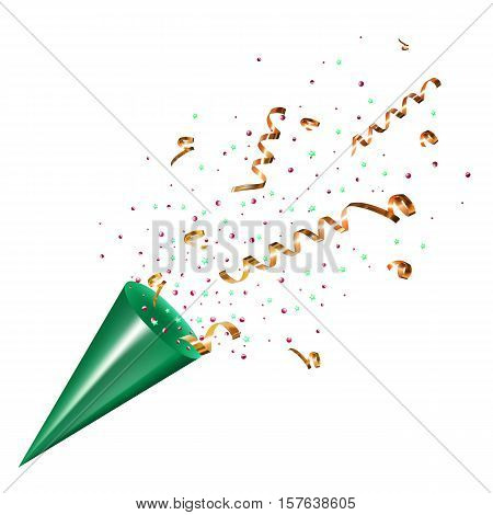 Exploding party popper with confetti and streamer on white background. Isolated