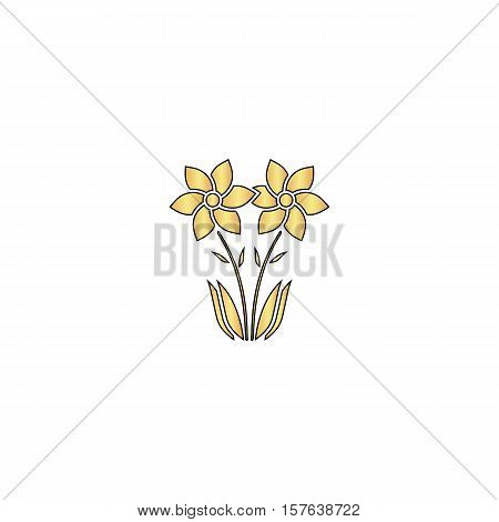 Flower Gold vector icon with black contour line. Flat computer symbol
