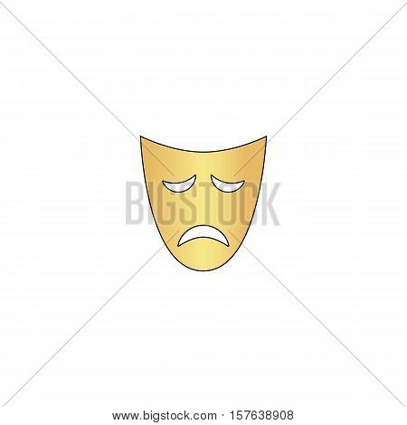 tragedy mask Gold vector icon with black contour line. Flat computer symbol