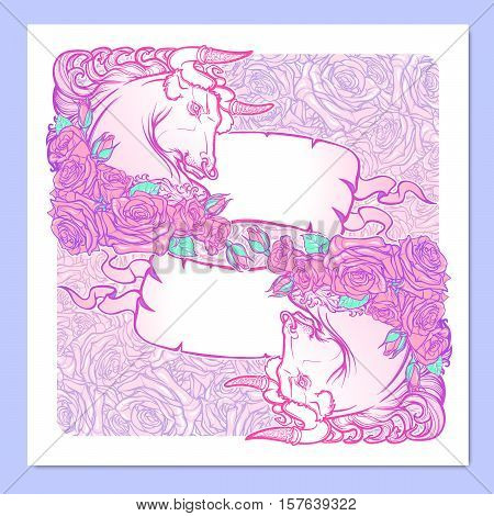 Zodiac sign of Taurus with a decorative frame of roses and banners. Astrology concept art. Tattoo design. Sketch in pastel pallette isolated on elegant pattern background. EPS10 vector illustration.