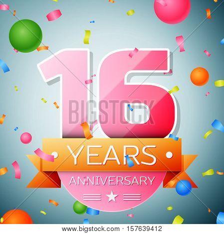 Sixteen years anniversary celebration background. Anniversary ribbon