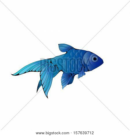 Hand-drawn ink-stylized little goldfish swimming in blue water.