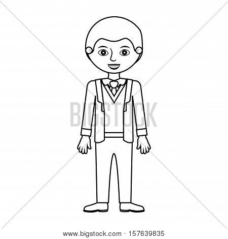 man silhouette with formal suit and bussines vector illustration