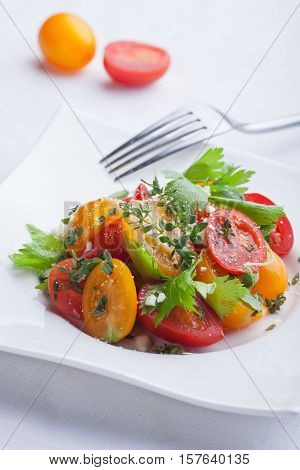 Tasty fresh tomato salad on white plate with fork