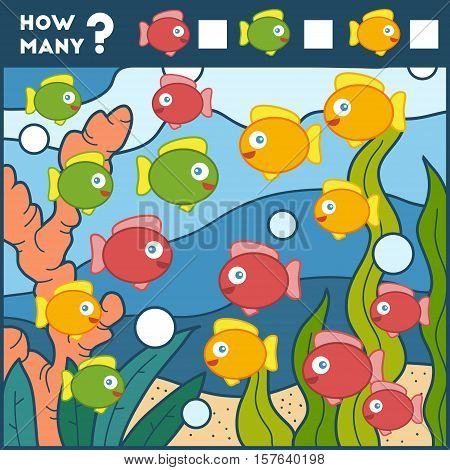 Counting Game For Preschool Children. Fish And Background