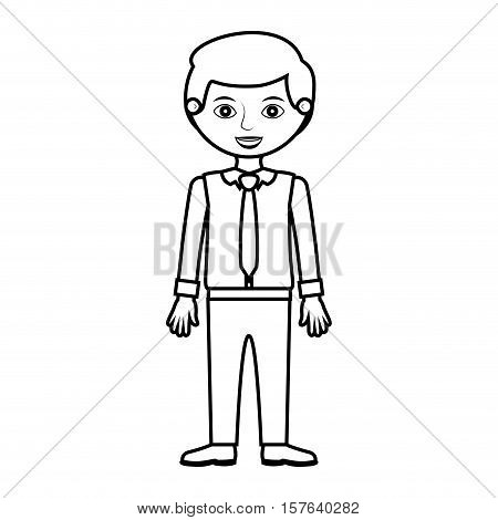 man silhouette with formal shirt and tie vector illustration